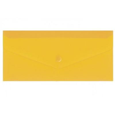 """Евроконверт Е65 прозрачный на кнопке, 180 мкм, фактура """"глянец"""", желтый"""