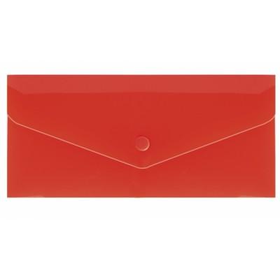"""Евроконверт Е65 прозрачный на кнопке, 180 мкм, фактура """"глянец"""", красный"""