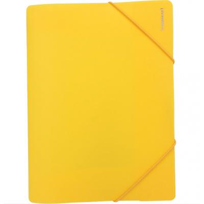 """Папка пластиковая А4 на резинках Format, фактура """"помаранч"""", желтая"""