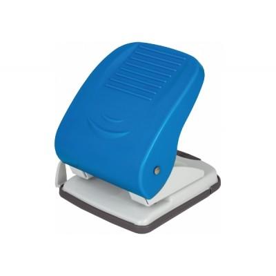 Дырокол до 40 л., Economix, пласт. корпус, с линейкой, синий E40136