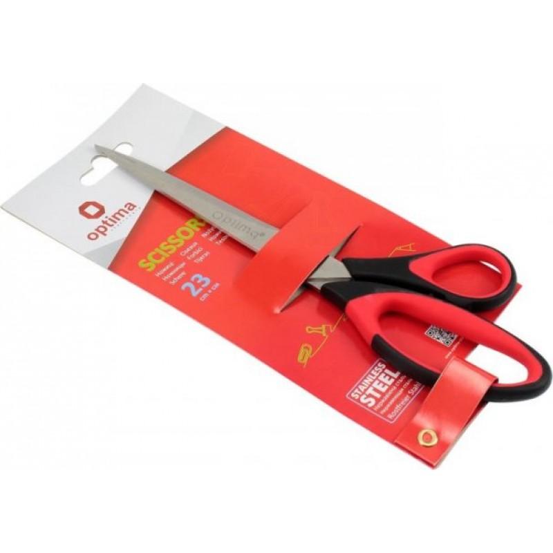 Ножницы 23 см Optima, пласт. ручки с резин. вставками O44407