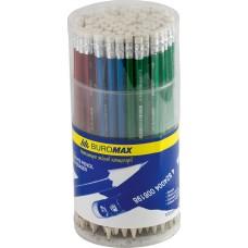 Карандаш графитовый НВ BUROMAX, ассорти, металлик, с ластиком, туба