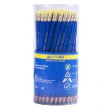 Карандаш графитовый НВ JOBMAX BUROMAX, пластиковый, синий, с ластиком, туба