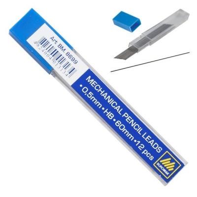 Стержни BUROMAX для механических карандашей (12 шт.) HB 0.5 мм