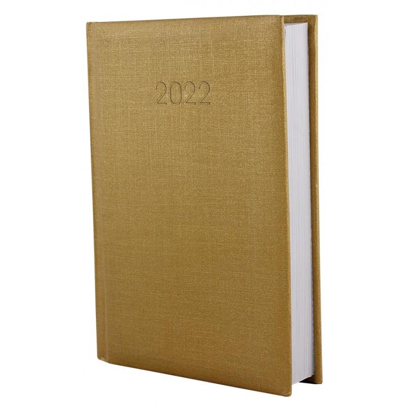 Ежедневник датированный 2022г., Текстиль, золото, А5, E21634-15