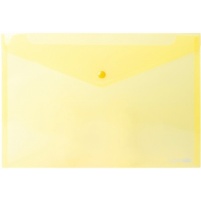 Папка конверт прозрачная А4 на кнопке Економикс,180 мкм фактура глянец, жетлая