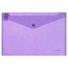 Папка конверт прозрачная А4 на кнопке Економикс,180 мкм фактура глянец,фиолетовая