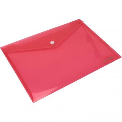 """Папка-конверт В5 прозрачная на кнопке Economix, 180 мкм, фактура """"глянец"""", красная"""