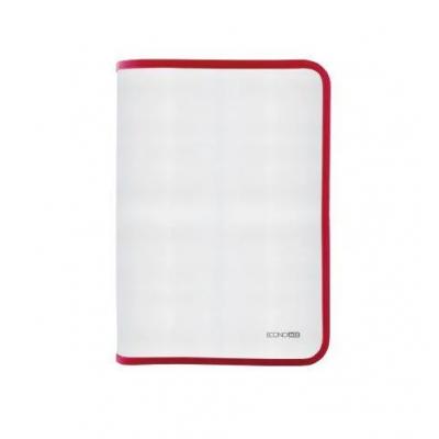 Папка-пенал пластикова на блискавці Economix А4, прозора, фактура: тканина, блискавка червона