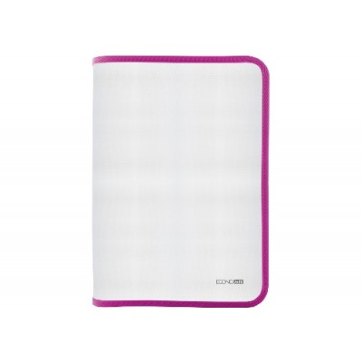 Папка-пенал пластиковая на молнии Economix А4, прозрачная, фактура: ткань, молния розовая