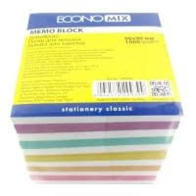Бумага для заметок 90х90 мм Зебра Economix, 1000 л., цветная