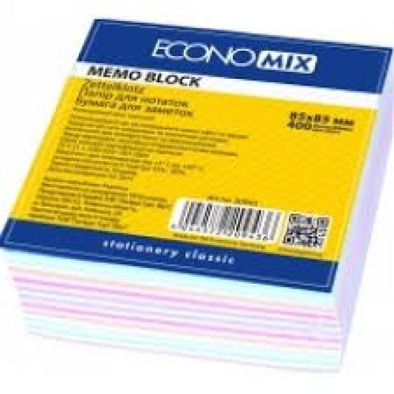 Бумага для заметок Economix, цветная 85х85, 400 листов