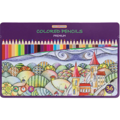 """Карандаши цветные """"Premium"""", 36 цветов, шестигранные, в металлической коробке"""