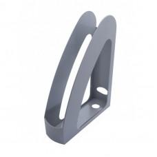 """Лоток для бумаг вертикальный с передней стенкой """"Радуга"""" Economix, пластик, серый"""