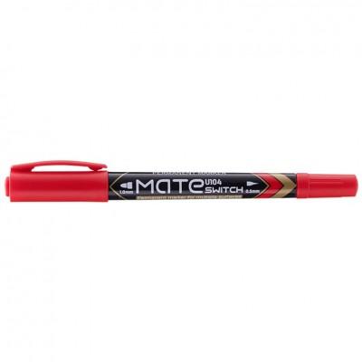 Маркер перманентный Deli EU10440 красный 1мм/0,5мм двухсторонний