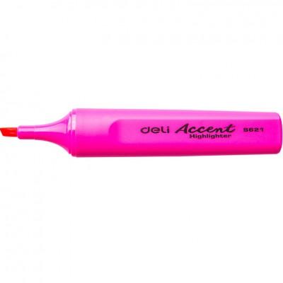 Маркер текстовый Deli 621ES розовый 5мм скошенный Accent