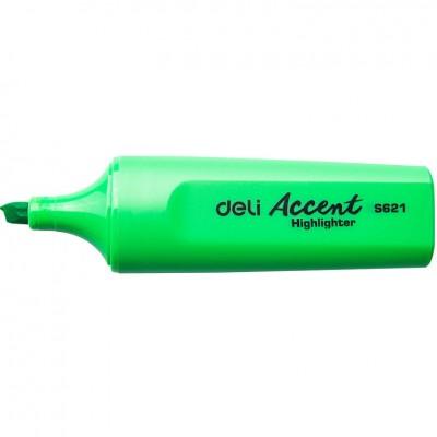 Маркер текстовый Deli 621ES зеленый 5мм скошенный Accent