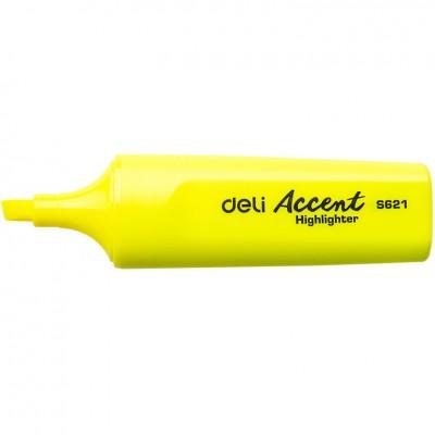 Маркер текстовый Deli 621ES желтый 5мм скошенный Accent