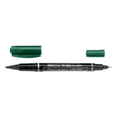 Маркер перманентный Deli 6824 зеленый 2мм/0,5мм двухсторонний