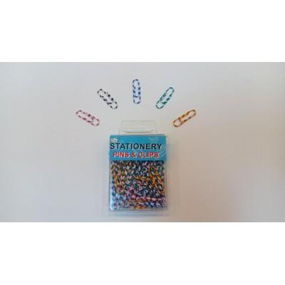 Скрепки канцелярские цветные в полоску P01680, Qifei, 28 мм