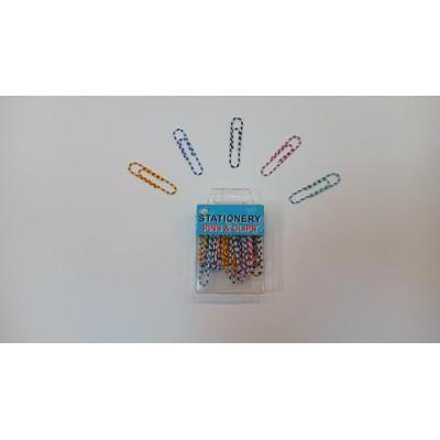 Скрепки канцелярские цветные в полоску P01730, Qifei, 50 мм