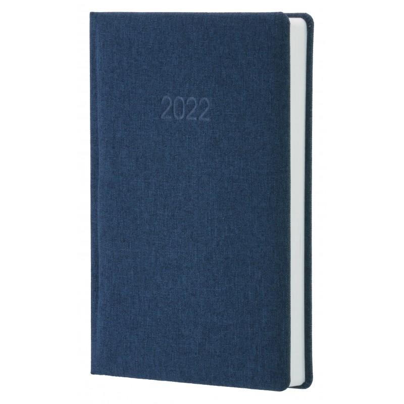 Ежедневник датированный 2022г., Ткань плейн ПВХ, темно-синий, А5, O26153