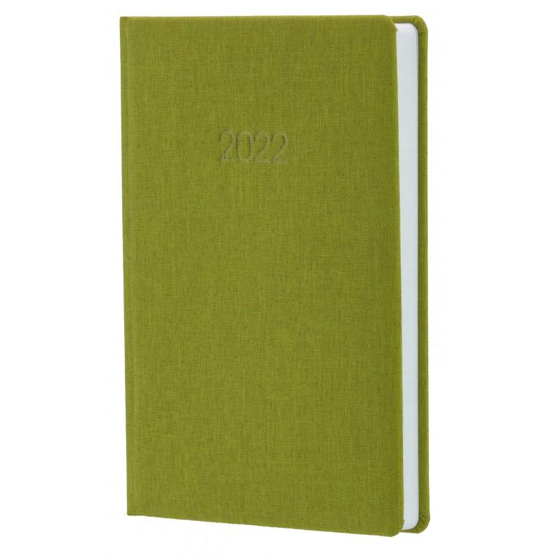 Ежедневник датированный 2022г., Ткань плейн ПВХ, оливковый, А5, O26154