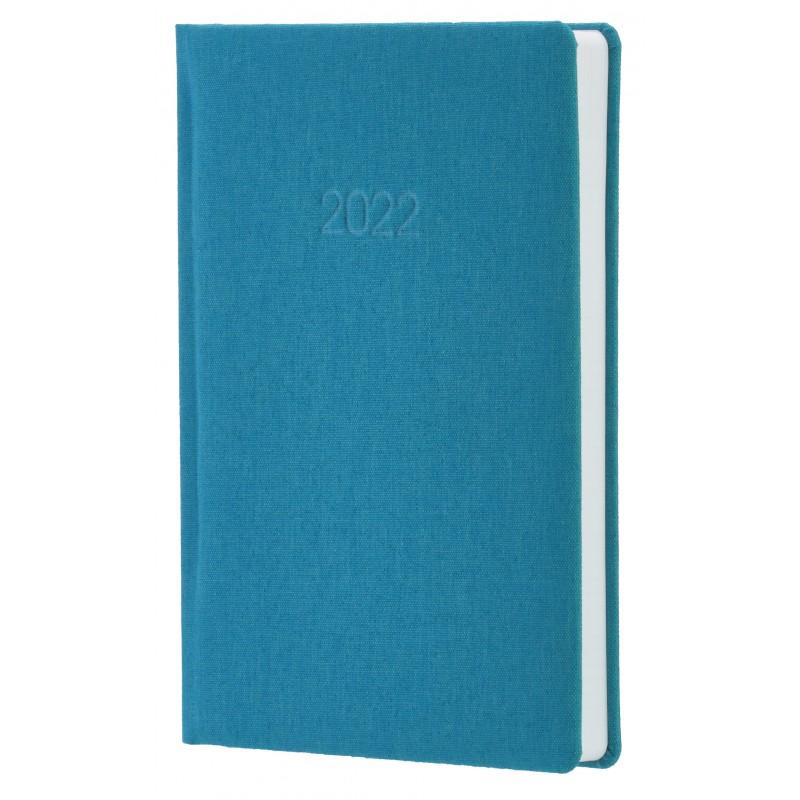Ежедневник датированный 2022г., Ткань плейн ПВХ, бирюзовый, А5, O26155