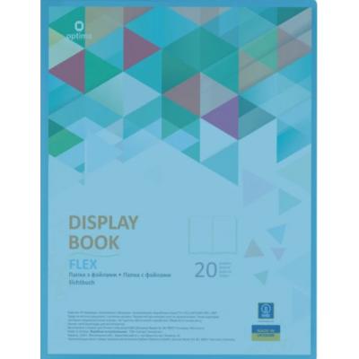 Папка А4 с 20 файлами Optima Flex голубая