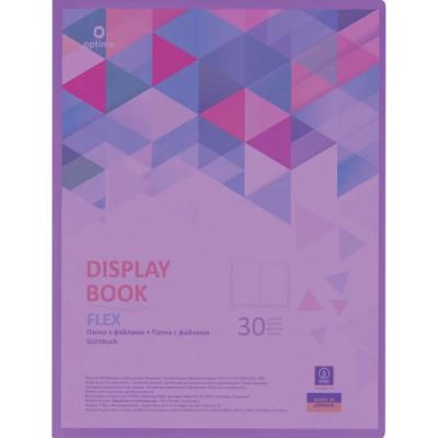 Папка А4 с 30 файлами Optima Flex фиолетовая