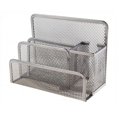 Підставка настільна на 4 відділення Optima, 85х175х140мм, метал сітка, срібна
