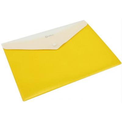 """Папка-конверт А4 непрозрачная на кнопке Optima, 180 мкм, фактура """"ПОЛОСА"""", желтая"""