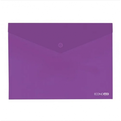 """Папка-конверт А5 прозрачная на кнопке Economix 180 мкм фактура """"глянец"""", фиолетовая"""