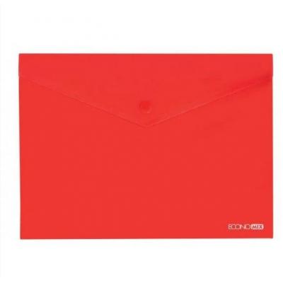 Папка-конверт А5 прозрачная на кнопке Economix, 180 мкм, фактура глянец, красная