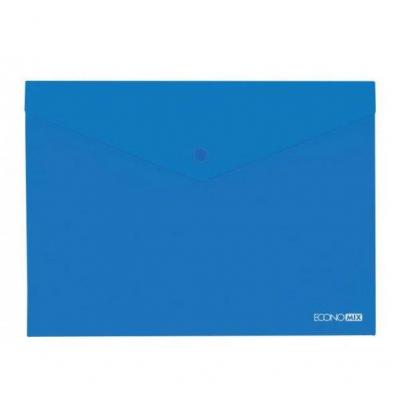 Папка-конверт А5 прозрачная на кнопке Экономикс, 180 мкм, фактура глянец, синяя