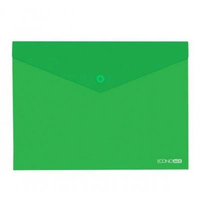 Папка-конверт А5 прозрачная на кнопке Экономикс, 180 мкм, фактура глянец, зеленая