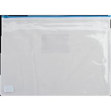 Папка конверт А4 пластик на молнии синяя