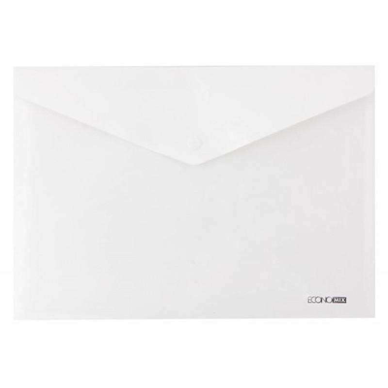 """Папка-конверт А5 прозрачная на кнопке Economix 180 мкм фактура """"глянец"""", белая"""