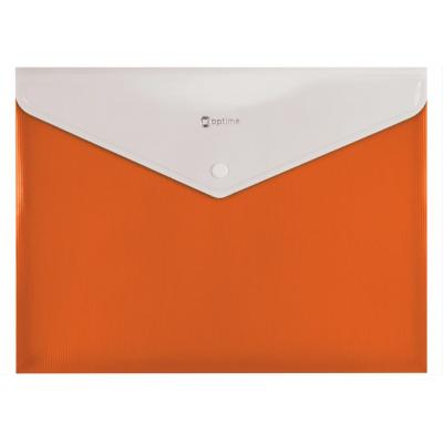 Папка-конверт А4 непрозрачная на кнопке Оптима, 180 мкм, фактура полоса, оранжевая