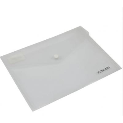 """Папка-конверт А5 прозрачная на кнопке Economix 180 мкм фактура """"глянец"""", прозрачная"""