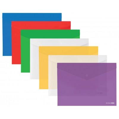 """Папка-конверт В5 прозрачная на кнопке Economix, 180 мкм, фактура """"глянец"""", ассорти"""