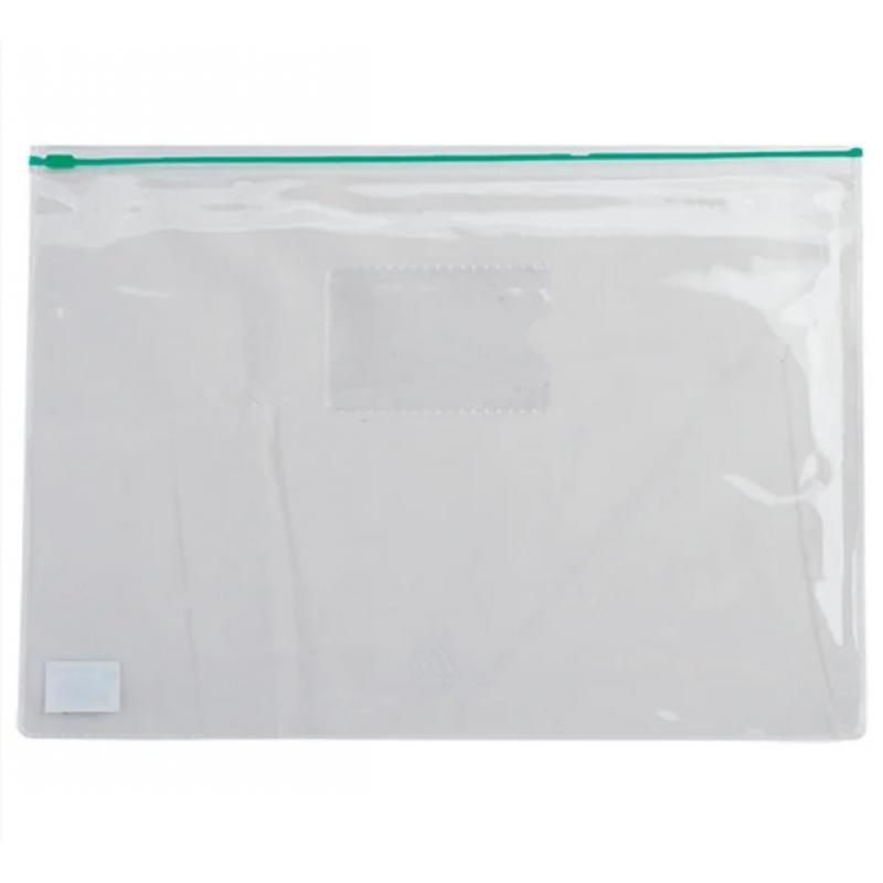 Папка-конверт А5, пласт. молния, зеленый