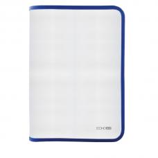 Папка-пенал пластиковая на молнии Economix А4, прозрачная, фактура: ткань, молния синяя