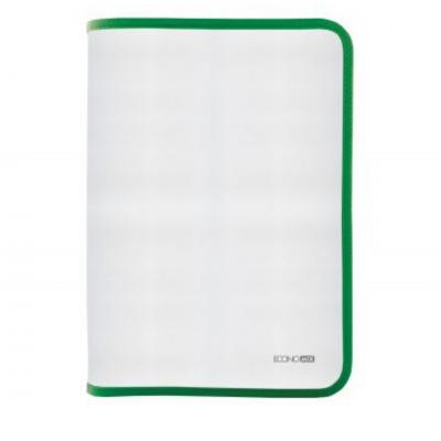 Папка-пенал пластиковая на молнии Economix А4, прозрачная, фактура: ткань, молния зеленая