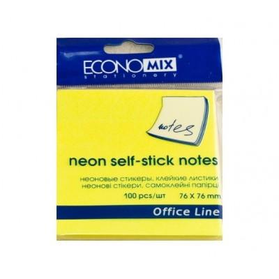 Бумага для заметок 75*75 100 листов желтый неон Экономикс