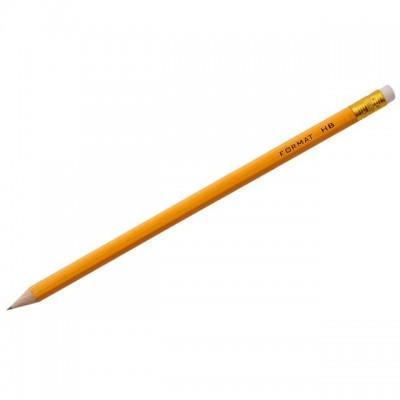 Карандаш с ластиком чернографитный Format HB корпус оранжевый