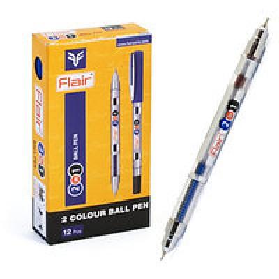 Ручка гелевая Flair сине-черная 2 в 1 двусторонняя