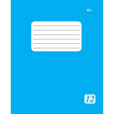 Тетрадь 12 листов в клетку эконом класса, голубая обложка